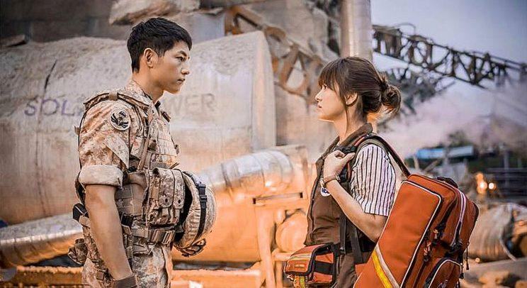 "Song Joong-ki (left) and Song Hye-kyo in Korean drama series ""Descendants of the Sun""."