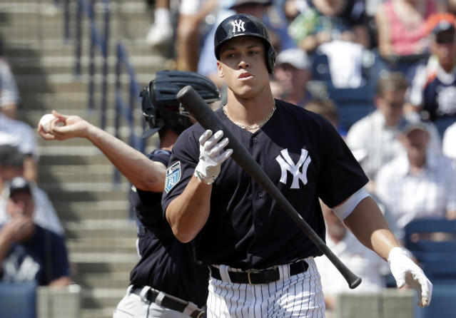 New York Yankees' Aaron Judge reacts after he struck out swinging during the first inning of a baseball spring exhibition game against the Detroit Tigers, Wednesday, Feb. 28, 2018, in Tampa, Fla. (AP Photo/Lynne Sladky)