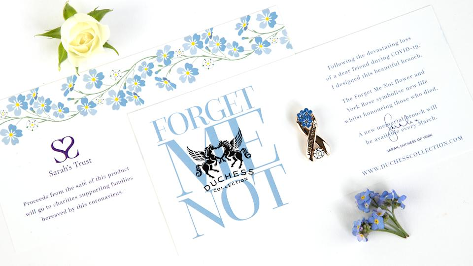 Undated handout photo of a forget me not brooch designed by Sarah, Duchess of York, which is part of a range of products she is launching, including tea and biscuits gift set, pin brooch and facemask with profits going to charity.