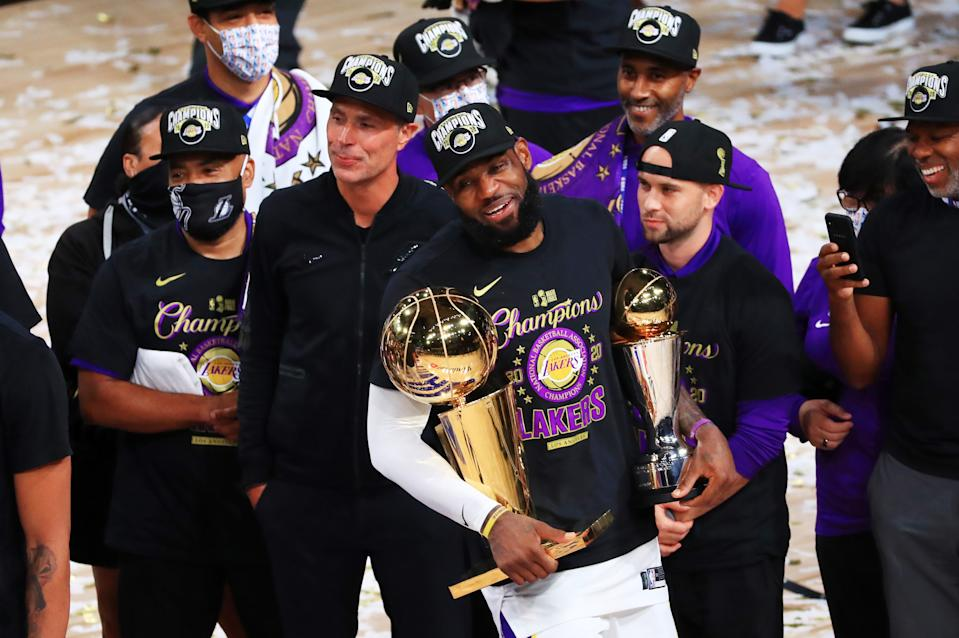 LeBron James and the Lakers will be going for a repeat this season. (Photo by Mike Ehrmann/Getty Images)