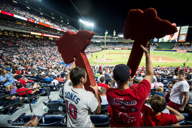 "The tomahawk chop has been a constant at <a class=""link rapid-noclick-resp"" href=""/mlb/teams/atlanta/"" data-ylk=""slk:Braves"">Braves</a> games since 1991. (Getty)"