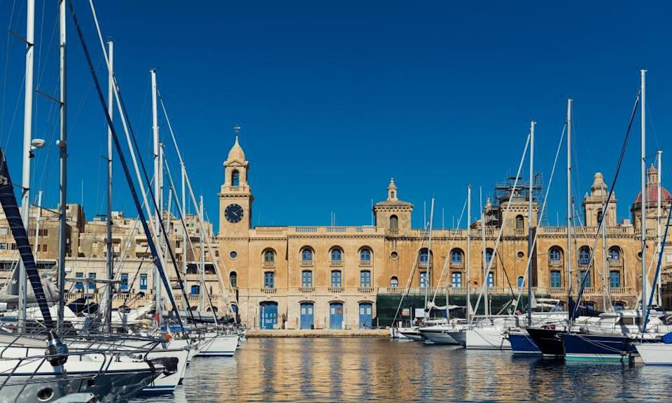 Malta Maritime Museum, seen from the harbour on a sunny day.