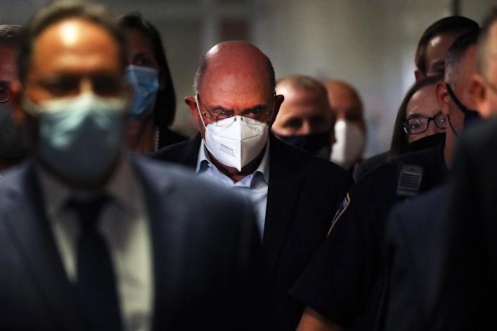 Trump Organization finance chief Allen Weisselberg leaves a New York court after surrendering to authorities on July 1, 2021. (Spencer Platt / Getty Images file)