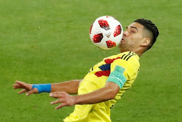 <p>Colombia's Radamel Falcao in action. REUTERS/Christian Hartmann </p>