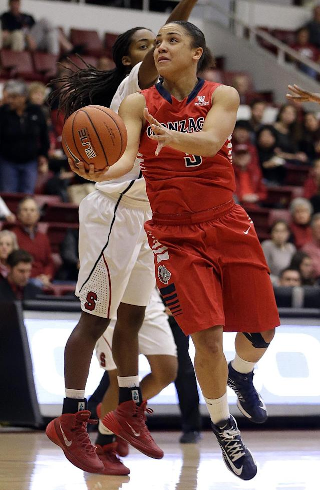 Gonzaga's Haiden Palmer, right, lays up a shot past Stanford's Lili Thompson during the first half of an NCAA college basketball game on Saturday, Dec. 14, 2013, in Stanford, Calif. (AP Photo/Ben Margot)