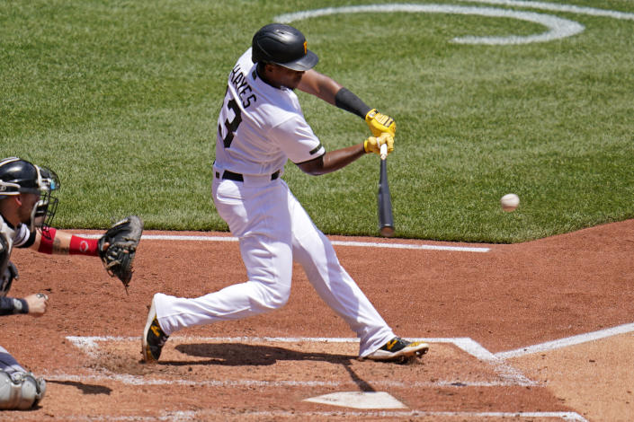 Pittsburgh Pirates' Ke'Bryan Hayes singles off Chicago White Sox starting pitcher Dylan Cease, driving in a run during the third inning of a baseball game in Pittsburgh, Wednesday, June 23, 2021. (AP Photo/Gene J. Puskar)