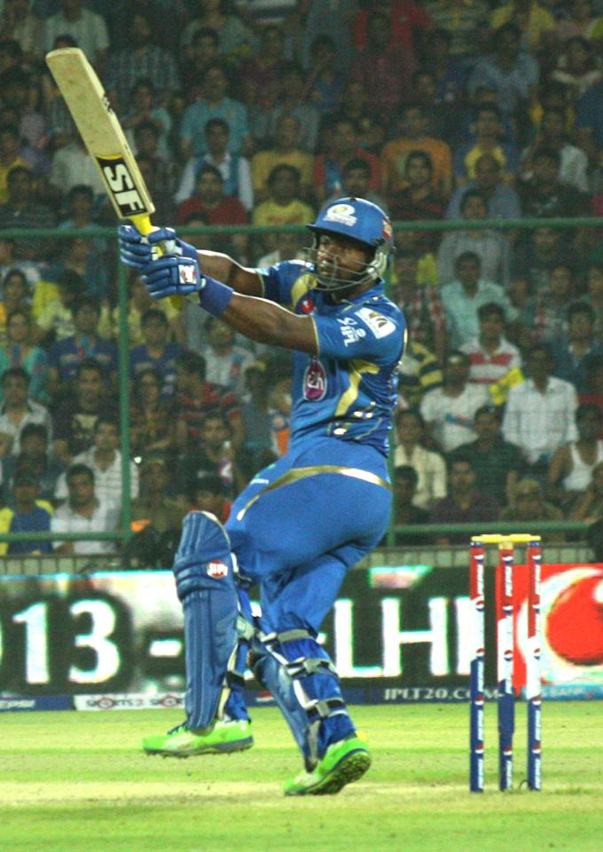 MI player Dwayne Smith in action during the match between Chennai Super Kings and Mumbai Indians at Feroz Shah Kotla, Delhi on May 21, 2013. (Photo: IANS)