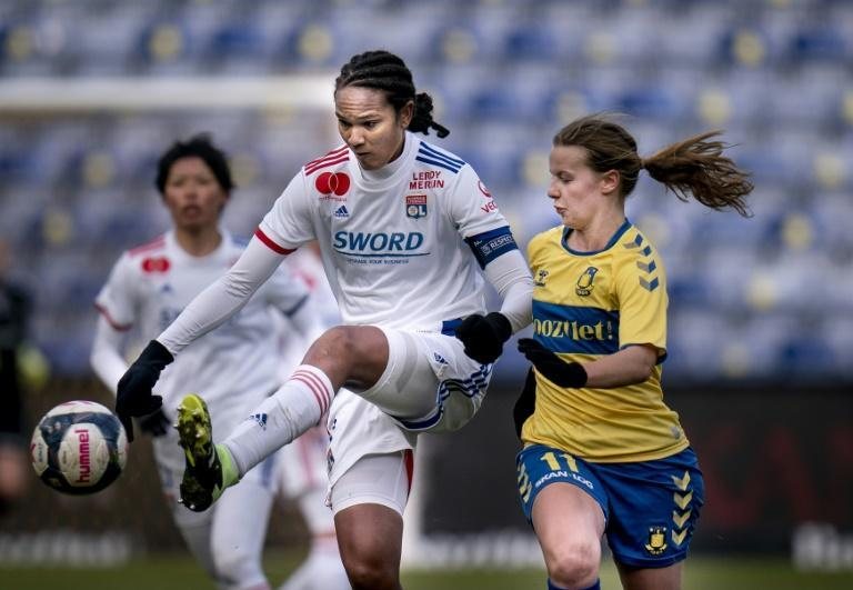 Lyon skipper and defensive colossus Wendie Renard in action against Brondby of Denmark in the last round