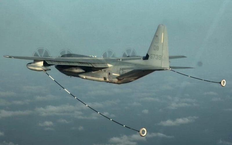 A KC-130 Hercules, similar to the one that is believed to have crashed, conducting air refueling training over the Pacific Ocean - REUTERS