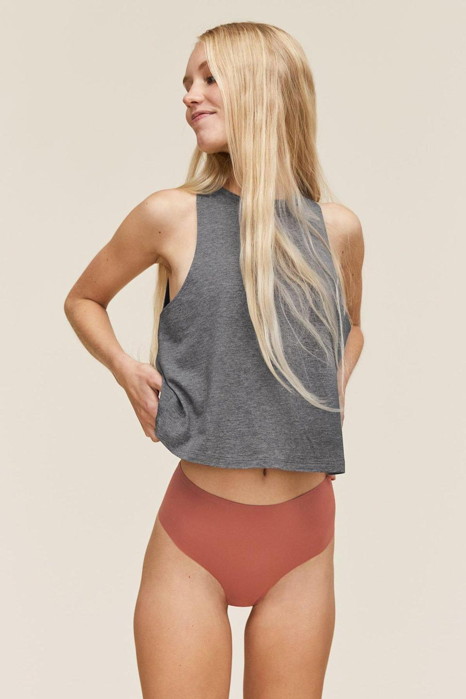 """Just like its best-selling leggings, Girlfriend Collective's underwear is made using recycled water bottles. In other words, you'll feel <em>really</em> good wearing these. $14, Girlfriend Collective. <a href=""""https://www.girlfriend.com/collections/underwear/products/copper-high-rise-thong"""" rel=""""nofollow noopener"""" target=""""_blank"""" data-ylk=""""slk:Get it now!"""" class=""""link rapid-noclick-resp"""">Get it now!</a>"""