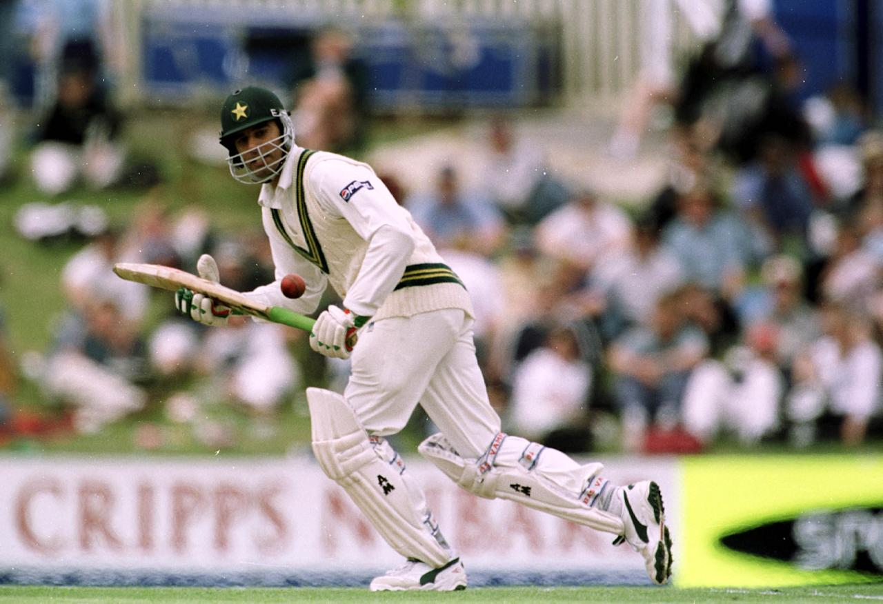 18 Nov 1999:  Pakistan batsman Mohammad Wasim hits one to the boundry on his way to a score of ninety one, on the first day of the of the second test match between Australia and Pakistan at Bellerive Oval,Hobart, Tasmania. Mandatory Credit: Jack Atley/ALLSPORT
