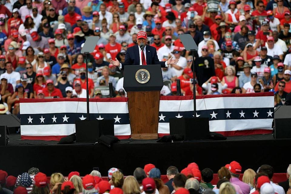 President Trump holds a rally in a parking lot at Raymond James Stadium in Tampa October 29.