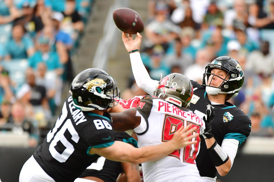 Jaguars QB Nick Foles had three turnovers in his first three possessions of the day, and the fans are getting restless. (Photo by Julio Aguilar/Getty Images)