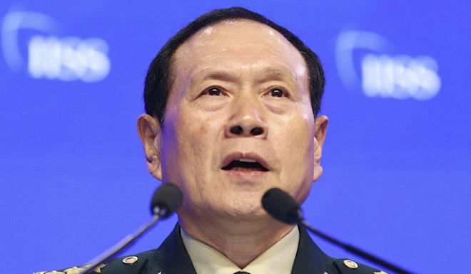 Chinese Defence Minister General Wei Fenghe at the International Institute for Strategic Studies (IISS) Shangri-la Dialogue in Singapore in June. Photo: AP
