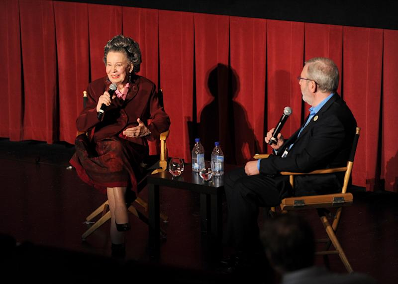 HOLLYWOOD, CA - APRIL 13: Diana Serra Cary, also know as actress Baby Peggy Montgomery and film critic Leonard Maltin speak onstage following the screening of the film 'Baby Peggy: The Elephant in the Room' at the 2012 TCM Classic Film Festival - Day 1 at the Chinese Multiplex 1 on April 13, 2012 in Hollywood, California. (Photo by Jason Merritt/WireImage) 22307_010_JM_0847.jpg