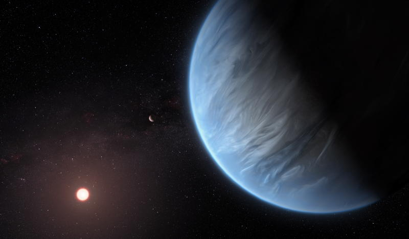 An artist's impression of the planet K2-18b, it's host star and an accompanying planet in this system. K2-18b is now the only super-Earth exoplanet known to host both water and temperatures that could support life. Source: EPA/ESA