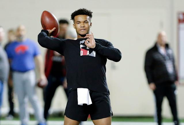 Oklahoma quarterback Kyler Murray goes through passing drills at the university's pro day for NFL scouts in March. (AP)
