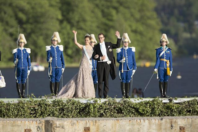 STOCKHOLM, SWEDEN - JUNE 08: Crown Princess Victoria, and Prince Daniel of Sweden attend the evening banquet after the wedding of Princess Madeleine of Sweden and Christopher O'Neill hosted by King Carl Gustaf XIV and Queen Silvia at Drottningholm Palace on June 8, 2013 in Stockholm, Sweden. (Photo by Julian Parker/Mark Cuthbert/UK Press via Getty Images)