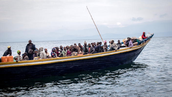 People on a boat on Lake Kivu fleeing Goma, DR Congo - Thursday 27 May 2021