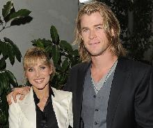 Chris Hemsworth and Elsa Pataky arrive at the W Magazine Best Performances Issue and The Golden Globes celebration held at Chateau Marmont in Los Angeles on January 13, 2012 -- Getty Images