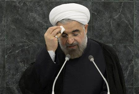 Iranian President Hassan Rouhani addresses the 68th United Nations General Assembly at UN headquarters in New York