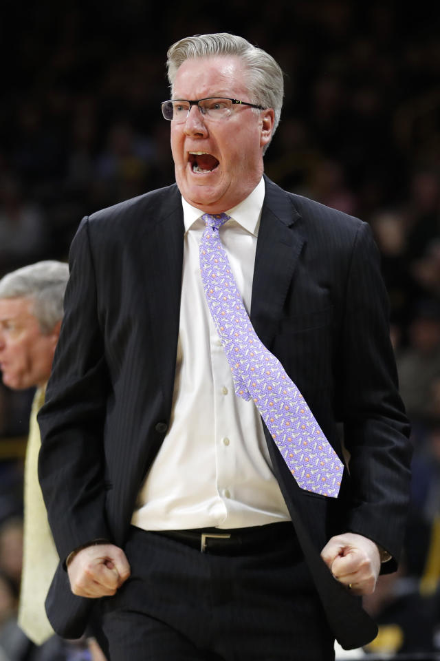 Iowa coach Fran McCaffery reacts to a call against his team during the first half of an NCAA college basketball game against Michigan State, Thursday, Jan. 24, 2019, in Iowa City, Iowa. (AP Photo/Charlie Neibergall)
