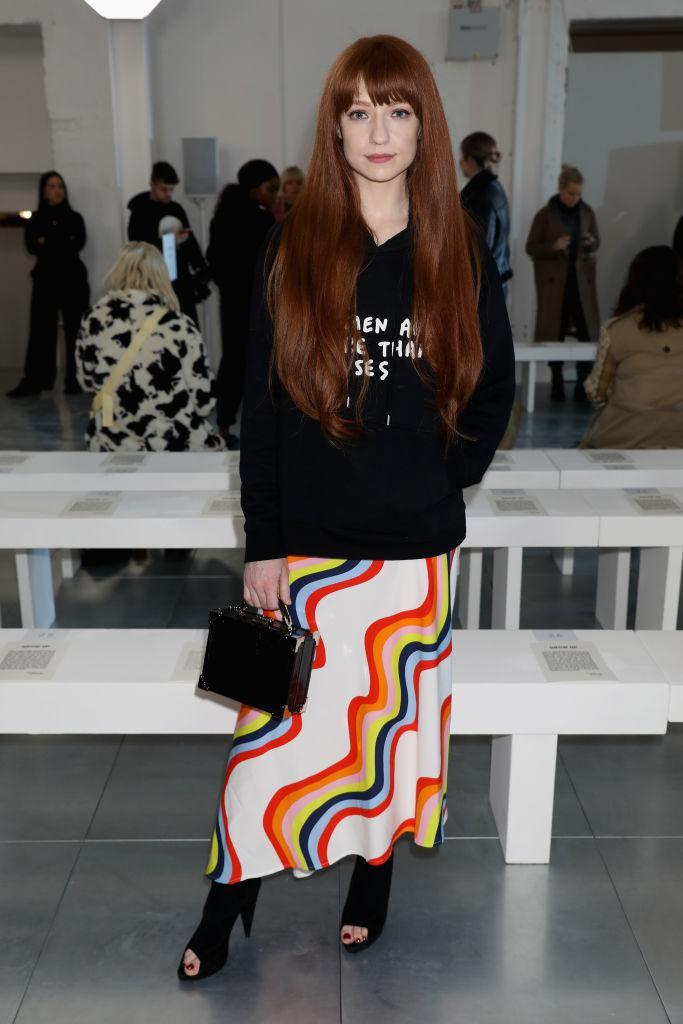 <p>Nicola Roberts donned a slogan hoodie and rainbow-inspired skirt to the AW18 collection preview. <em>[Photo: Getty]</em> </p>