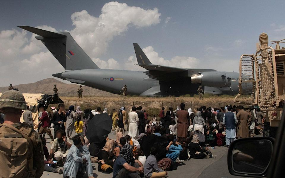 UK Armed Forces at Kabul Airport. The RAF is said to be planning to help Afghan translators fleeing the Taliban - Ministry of Defence