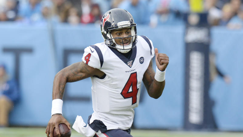 Houston Texans quarterback Deshaun Watson plays against the Tennessee Titans in an NFL football game Sunday, Dec. 15, 2019, in Nashville, Tenn. (AP Photo/Mark Zaleski)