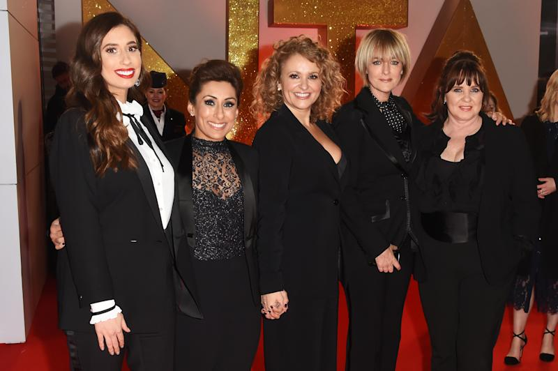 LONDON, ENGLAND - JANUARY 22: (L to R) Stacey Solomon, Saira Khan, Nadia Sawalha, Jane Moore and Coleen Nolan of Loose Women attend the National Television Awards held at The O2 Arena on January 22, 2019 in London, England. (Photo by David M. Benett/Dave Benett/Getty Images)