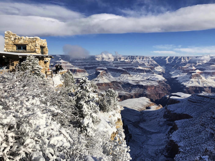 Lookout Studio in Grand Canyon Village on the South Rim of Grand Canyon National Park in Arizona on Jan. 1, 2019. While parts of the national park were closed due to the partial government shutdown, much of the park's South Rim was open and accessible. (Photo: Anna Johnson/AP)