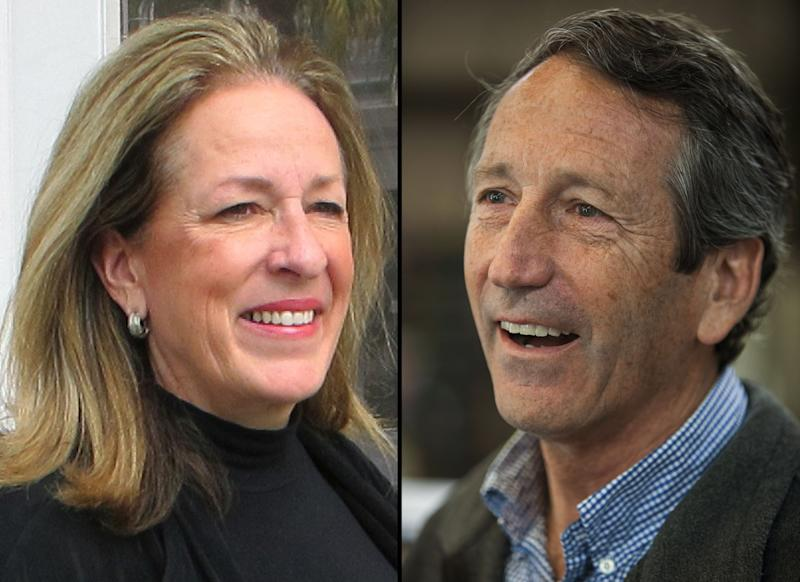 This photo combination shows Elizabeth Colbert Busch posing outside her campaign headquarters in Charleston, S.C., on Wednesday, Feb. 13, 2013, left, and Former South Carolina Gov. Mark Sanford speaking with reporters at Hay Tire & Automotive in Mount Pleasant, S.C., on Monday, April 22, 2013. Sanford and Colbert Busch will share the stage for the first time in their race for the state's vacant 1st Congressional District seat. The two meet Monday evening, April 29, 2013 at The Citadel in a debate. (AP Photo/Bruce Smith and Mic Smith)