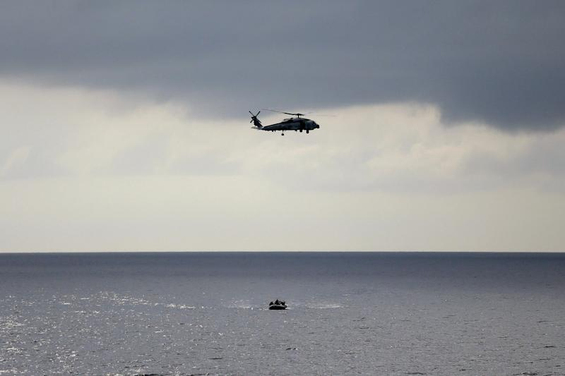 A U.S. Navy helicopter is seen during a training exercise. On Monday, a UH-1N helicopter (not pictured) was shot at while flying over Virginia, authorities said. (Photo: ASSOCIATED PRESS)