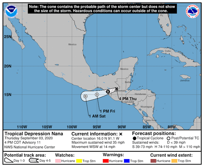 Tropical Depression Nana is forecast to degenerate to a remnant low pressure area on Friday.
