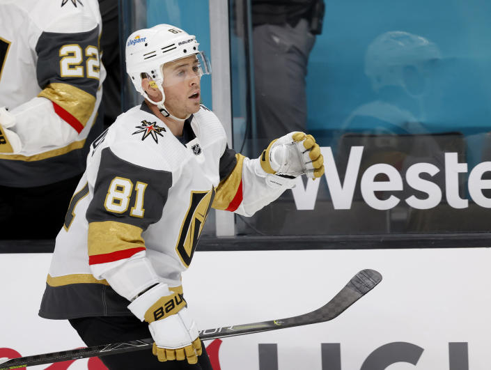 Vegas Golden Knights center Jonathan Marchessault (81) celebrates after scoring a goal against the San Jose Sharks during the first period of an NHL hockey game in San Jose, Calif., Saturday, Feb. 13, 2021. (AP Photo/Josie Lepe)