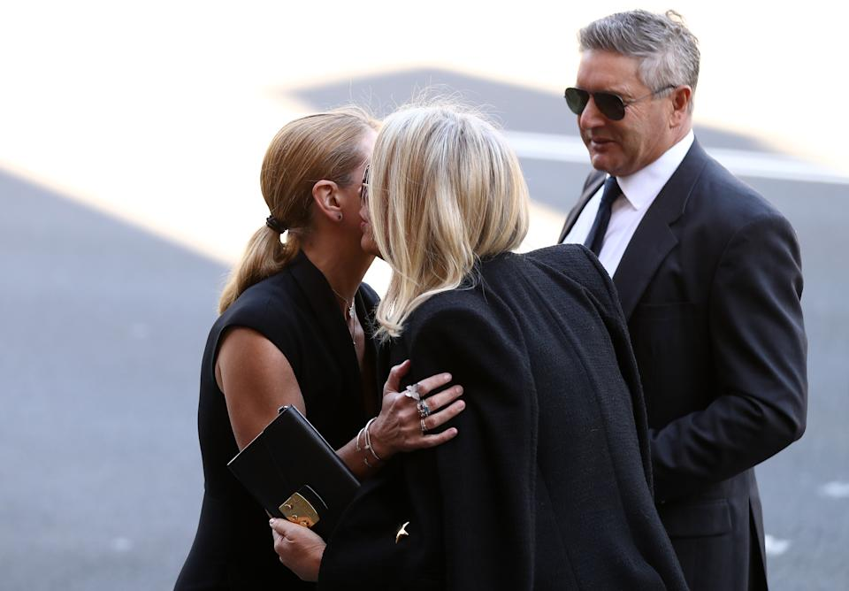 Former Editor in Chief Harper's BAZAAR Australia Kellie Hush, Sam Armytage and her husband Richard Lavender attend the State Funeral for Carla Zampatti at St Mary's Cathedral on April 15, 2021 in Sydney, Australia.