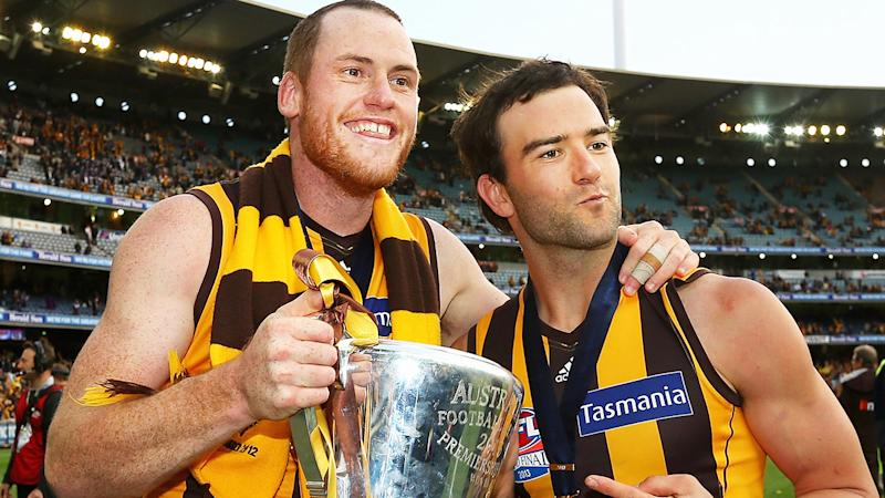Jarryd Roughead and Jordan Lewis, pictured here celebrating the 2013 premiership for Hawthorn.
