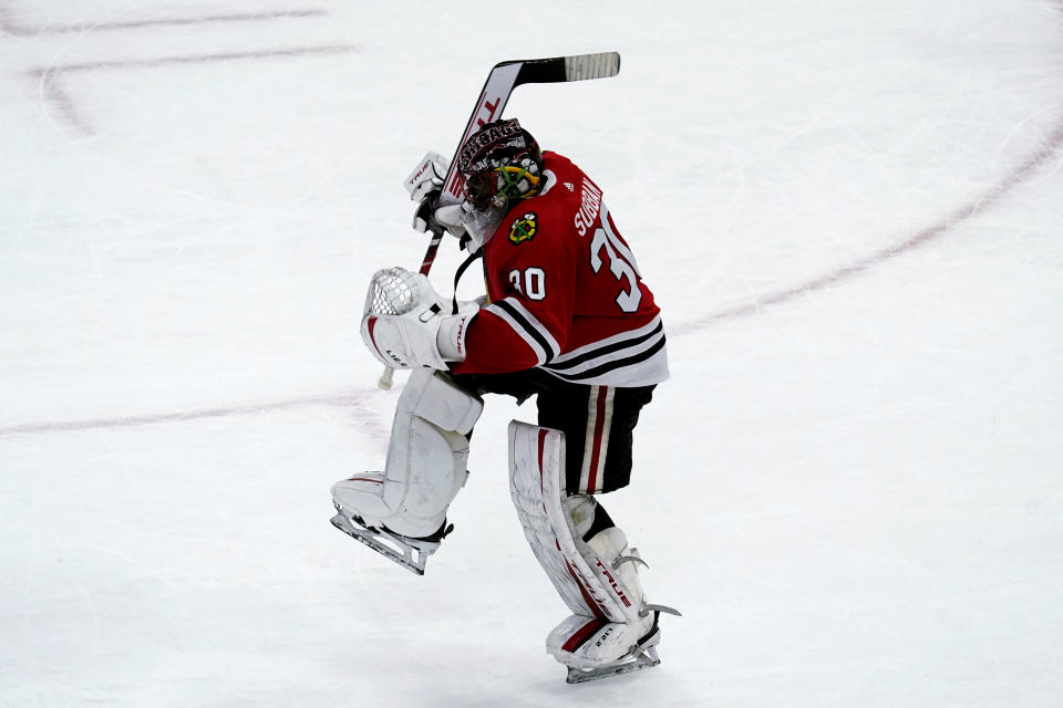 Chicago Blackhawks goalie Malcolm Subban reacts after the Chicago Blackhawks defeated the Tampa Bay Lightning in a shootout of an NHL hockey game in Chicago, Friday, March 5, 2021. (AP Photo/Nam Y. Huh)
