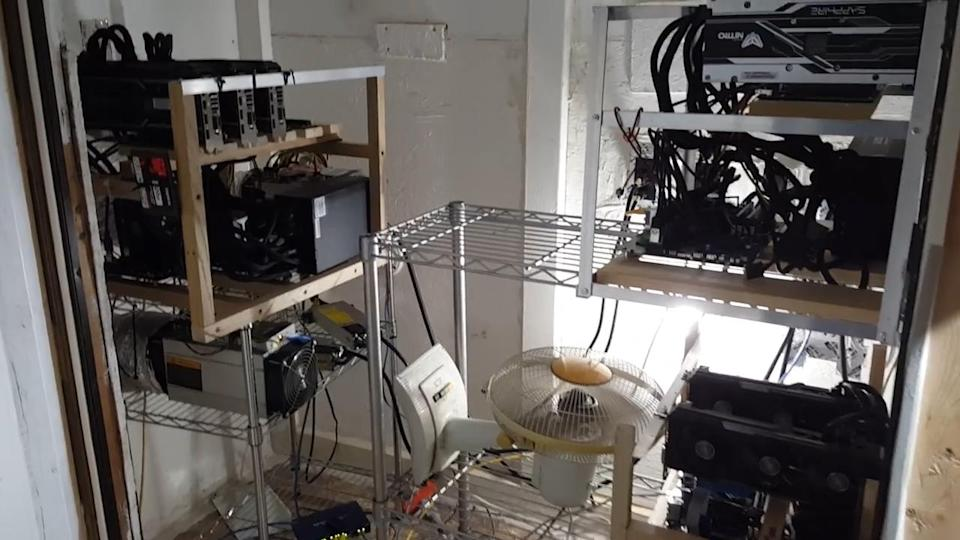 Rahdi Fakhoury runs bitcoin mining machines in the basement to heat his house in North Carolina. (Rahdi Fakhoury)