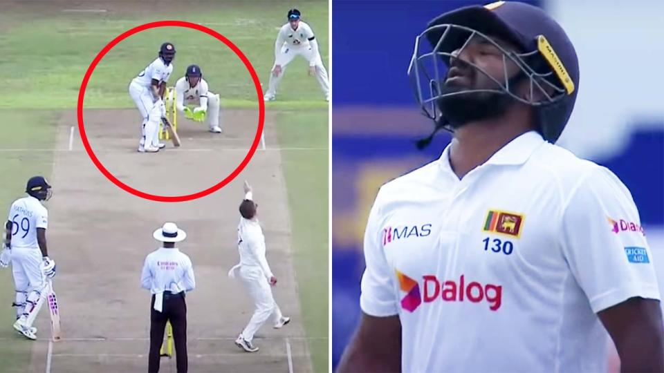 Kusal Perera, pictured here being dismissed against England.
