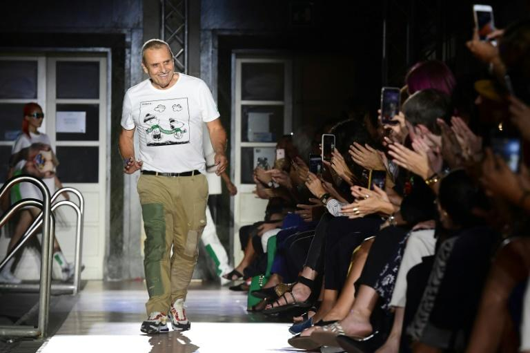 """French designer Jean-Charles de Castelbajac said his team carried out """"recycling experiments and research into paper"""" to produce an environmentally-aware coat for Benetton (AFP Photo/Miguel MEDINA)"""