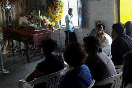 Mourners attend the wake of Paola Ramirez, a student who died during a protest, in San Cristobal
