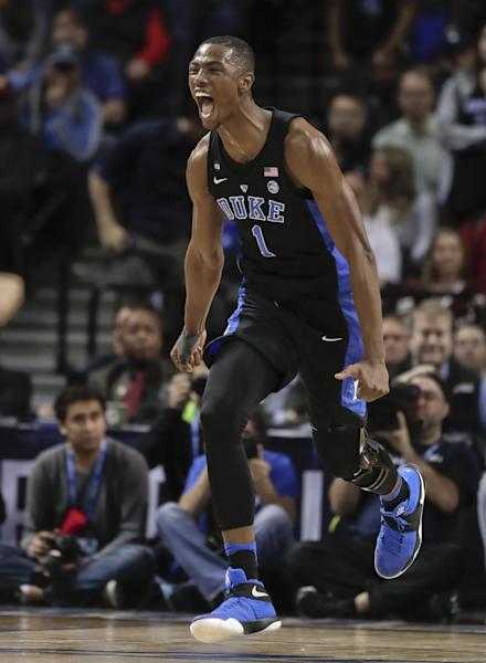 Duke forward Harry Giles (1) reacts after scoring against North Carolina in the second half of an NCAA college basketball game during the semifinals of the Atlantic Coast Conference tournament, Friday, March 10, 2017, in New York. Duke won 93-83. (AP Photo/Julie Jacobson)