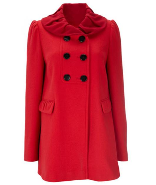 How cute is this rouched-collared coat? You'll certainly be a lady in red in this getup.  £80, wallis.co.uk