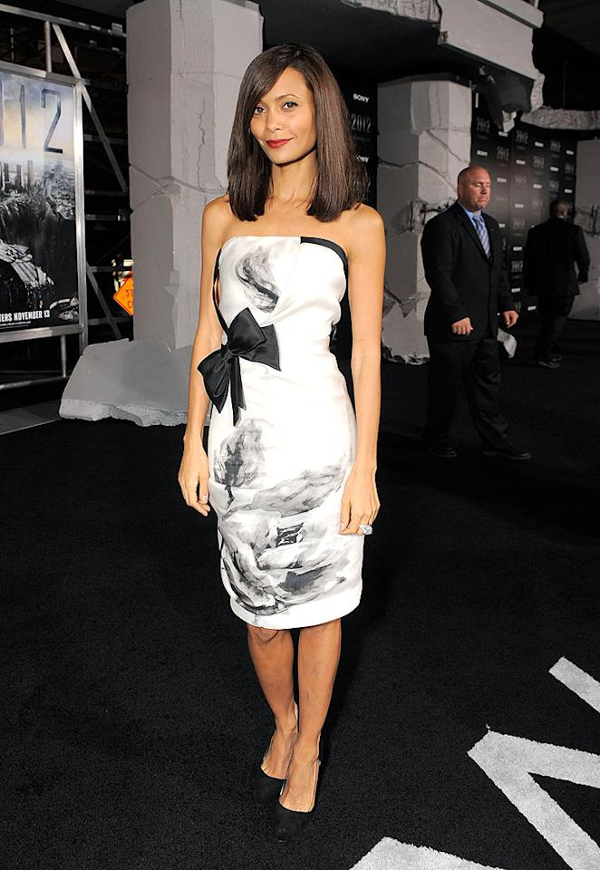 "Back in LA, Thandie Newton stole the spotlight at the premiere of ""2012"" in a ravishing rose-patterned Prabal Gurung Spring 2010 draped dress, monstrous cocktail ring, and black pumps. Todd Williamson/<a href=""http://www.wireimage.com"" target=""new"">WireImage.com</a> - November 3, 2009"