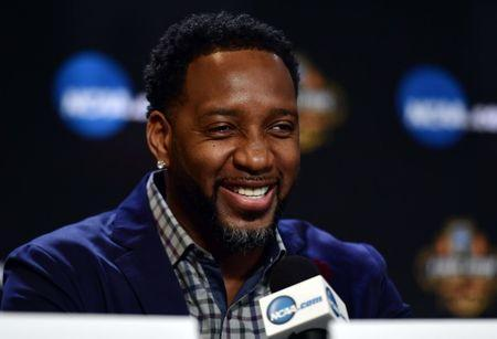 Apr 1, 2017; Glendale, AZ, USA; NBA former player Tracy McGrady speaks during the Naismith Hall of Game Press Conference at University of Phoenix Stadium. Mandatory Credit: Joe Camporeale-USA TODAY Sports