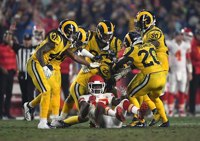 Monday's game between the Rams and Chiefs somehow surpassed the hype, and social media loved it. (Getty)