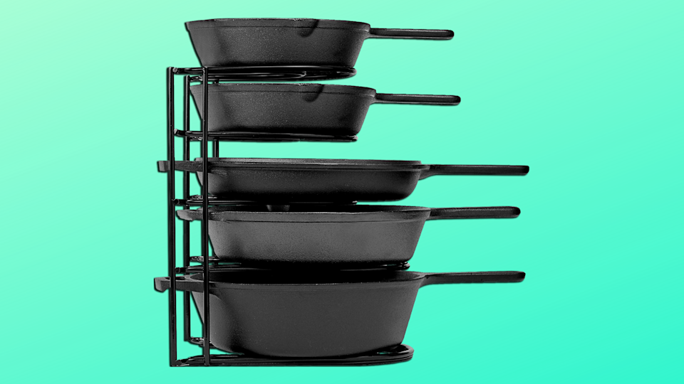 The 5-Tier Heavy Duty Pan Organizer is 33 percent off, today only. (Photo: Amazon)