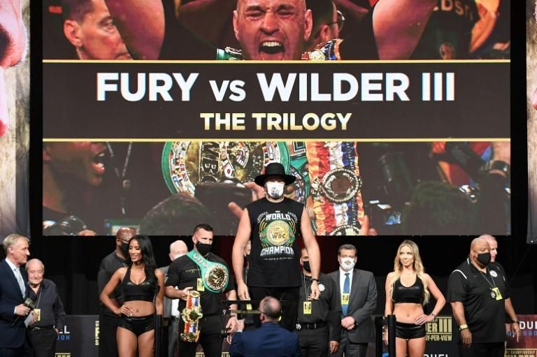 WBC heavyweight champion British boxer Tyson Fury weighs in for his bout with Deontay Wilder in Las Vegas on Saturday (AFP/Robyn Beck)