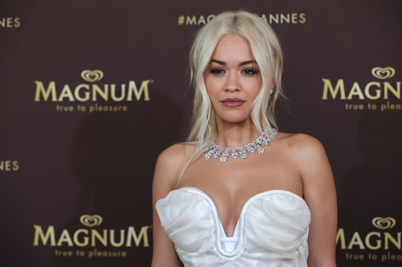 "CANNES, FRANCE - MAY 16: Rita Ora wearing jewelry by Chopard during the photocall for ""MAGNUM x Rita_Ora"" during the 72nd annual Cannes Film Festival on May 16, 2019 in Cannes, France. (Photo by Gisela Schober/Getty Images)"